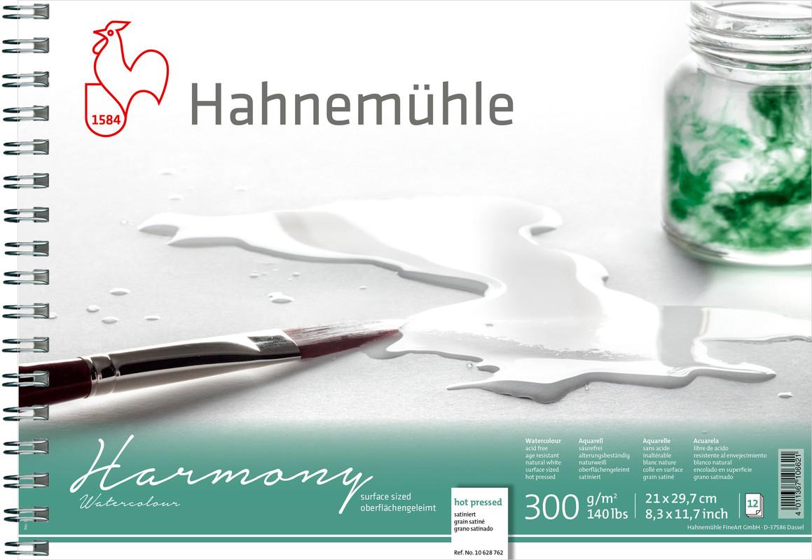 Bloco Aquarela Harmony  Watercolour 300 g/m² Textura Satinada  A4 12 fl c/espiral